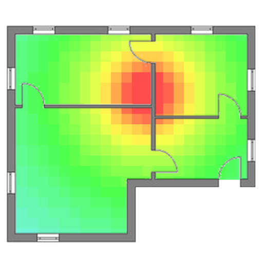 Wireless heat mapping to detect any dead spots on premise